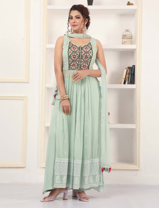 Pistachio green palazzo suit in georgette for wedding sessions
