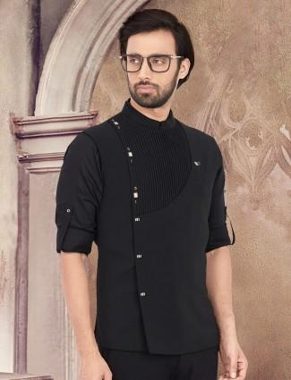 Plain black cotton stand collar waistcoat