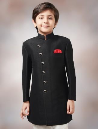 Plain black dressy terry rayon indo western