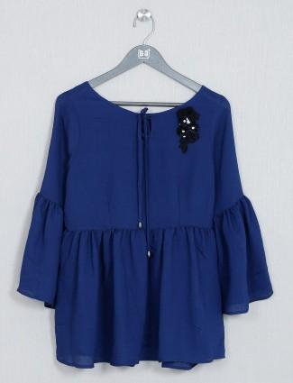 Plain blue casual wear top for women