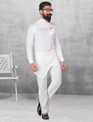 Plain white silk kurta suit