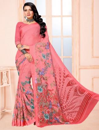 Pleasant pink printed chiffon satin saree for festive wear