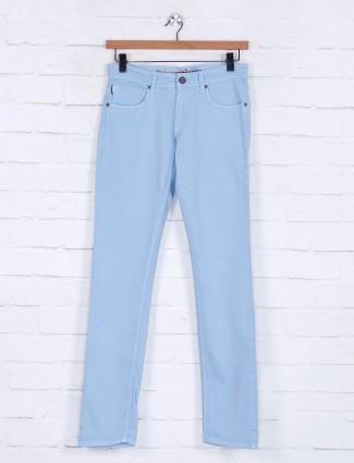 Poison solid sky blue slim fit mens jeans