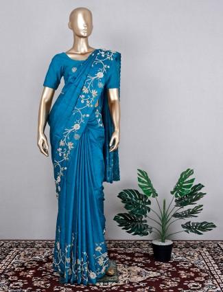 Popular teal blue tussar silk saree for wedding function
