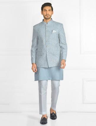 Powder blue wedding wear indowestern style sherwani