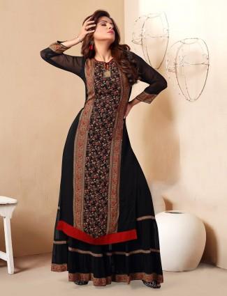 Precious black georgette printed punjabi sharara suit