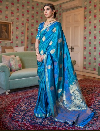 Precious blue wedding wear jacquard silk saree for women