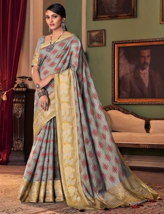 Precious festive wear cotton silk saree in grey