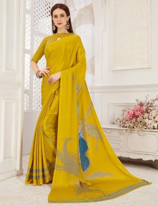 Precious mustard yellow color crepe saree