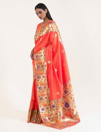 Precious peach banarasi silk saree for wedding session