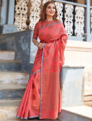 Precious pink festive wear handloom cotton saree for women