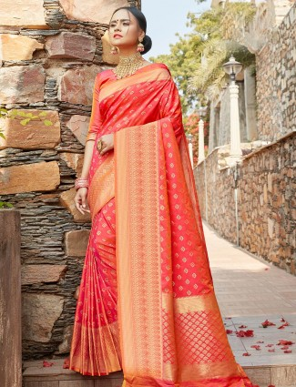 Precious pink wedding wear banarasi silk saree for women
