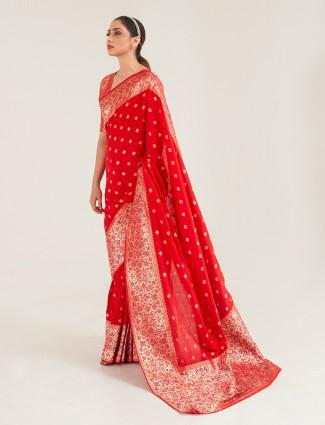 Precious red banarasi silk saree for wedding session