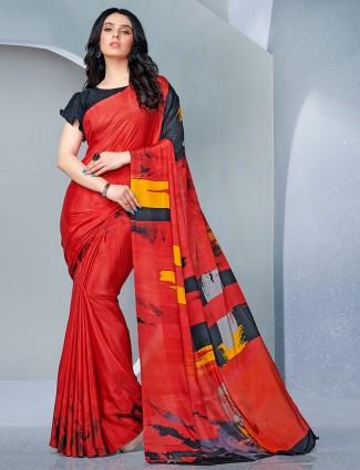 Precious red crepe festive occasions saree