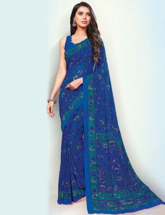 Precious royal blue color georgette saree