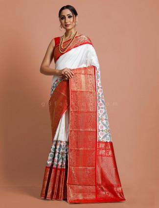 Premium white kanjivaram patola silk saree