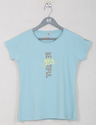 Presented powder blue shande top for women