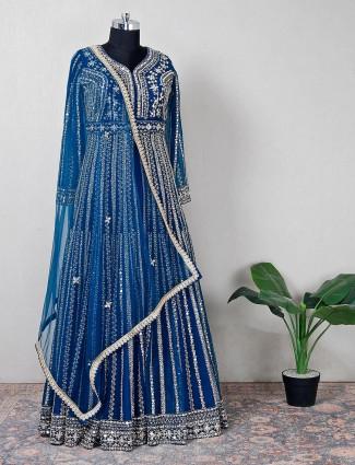 Pretty blue georgette leheng style suit for wedding