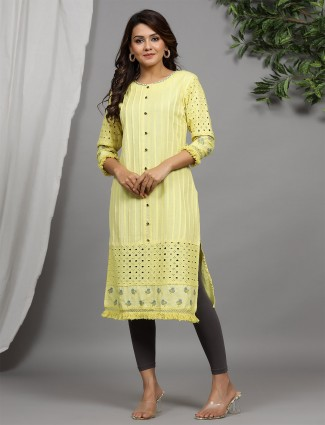 Pretty cotton casual kurti in lemon yellow