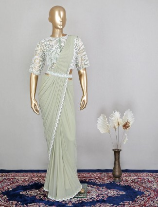 Pretty green georgette ready to wear saree for wedding functions