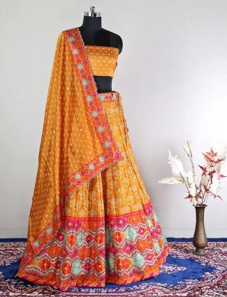 Pretty mustard yellow semi-stitched wedding wear silk lehenga choli