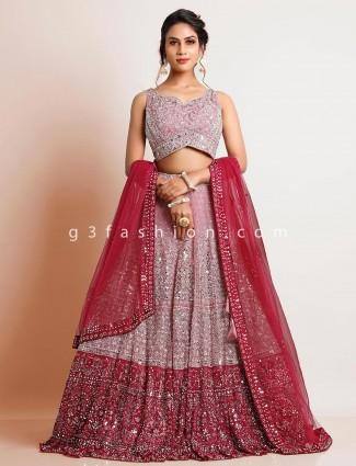 Pretty net pink wedding wear lehenga choli