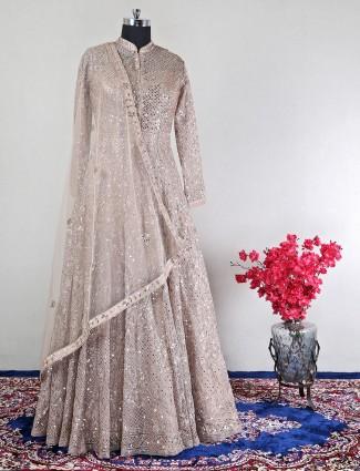 Pretty peach net wedding wear anarakli suit