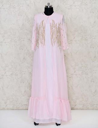 Pretty pink georgette anarkali floor length suit