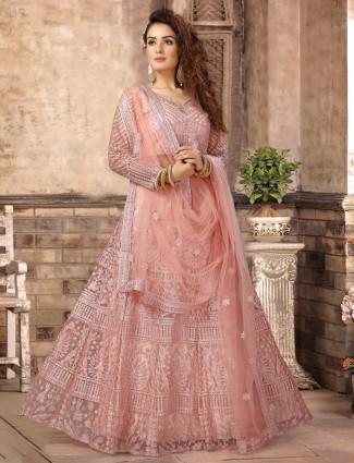 Pretty pink net wedding lehenga choli
