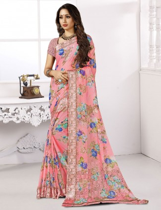 Pretty pink printed chiffon satin saree for festive wear