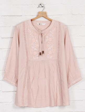 Pretty pink solid casual cotton top