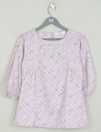 Pretty printed pink cotton casual top
