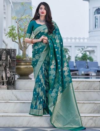 Pretty rama blue saree in banarasi silk fabric for wedding events