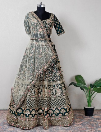 Pretty raw silk bridal wear bottle green lehenga choli