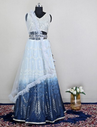 Pretty silk skyblue lehenga choli for wedding