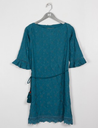 Pretty teal blue cotton casual top