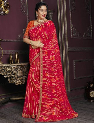 Printed amazing cherry red georgette festive sessions saree