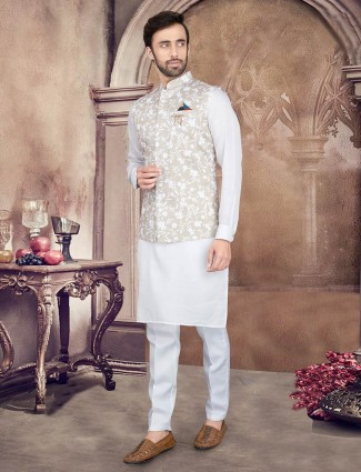 Printed beige and white cotton silk party wear waistcoat set