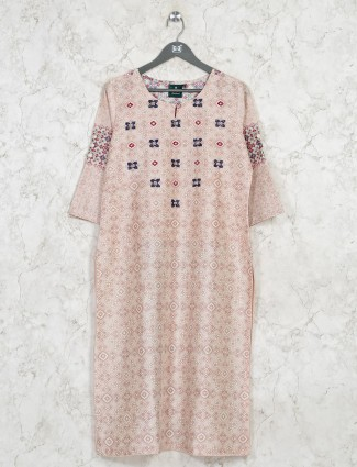 Printed beige cotton casual outing kurti