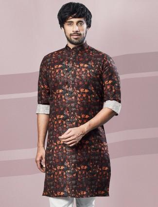 Printed brown cotton kurta festive wear