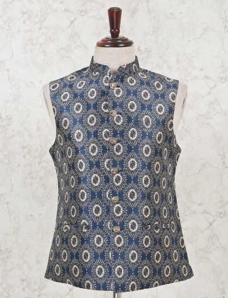 Printed black cotton silk waistcoat