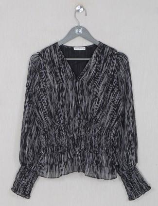 Printed black georgette casual top