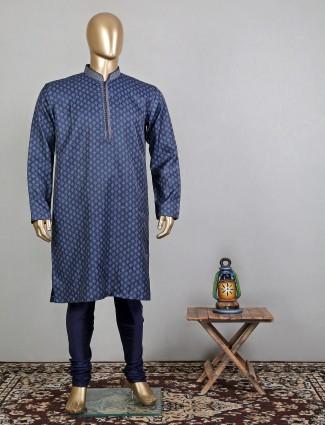 Printed blue cotton festive wear kurta suit