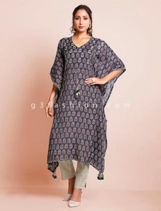 Printed blue cotton kurti for women