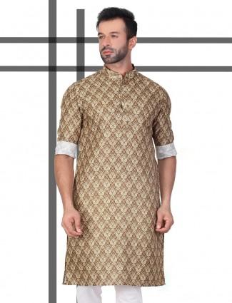 Printed brown cotton kurta for festive