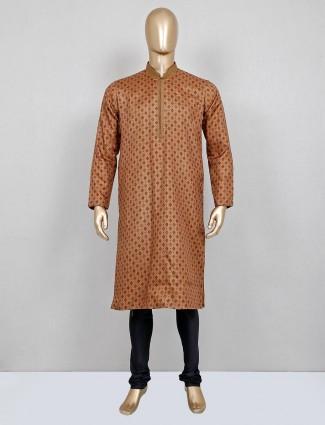 Printed brown cotton silk kurta suit for festive