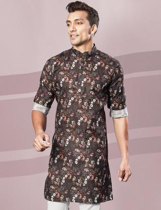 Printed brown full sleeves kurta for festive