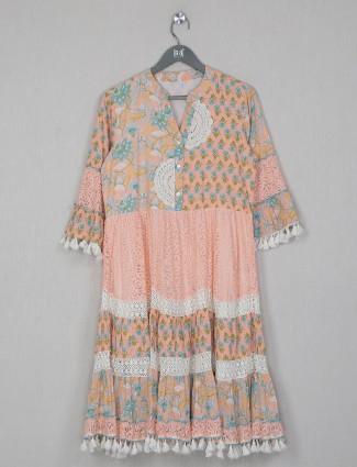 Printed casual wear dress in peach cotton