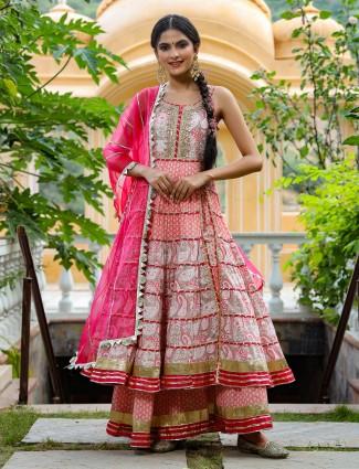 Printed coral pink festive wear cotton punjabi anarkali style palazzo set