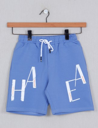 Just Cloths printed cotton casual wear blue short